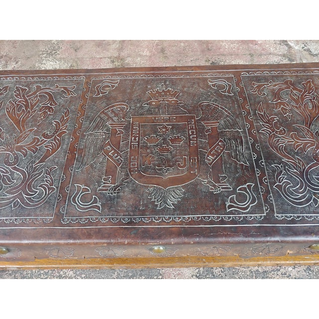Brown Antique Spanish Colonial Bench-Beautiful Carved Wood & Embossed Leather For Sale - Image 8 of 10