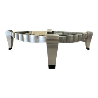 Glass Top Scalloped Edge Silver Leaf Coffee Table For Sale