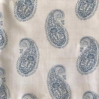 """Peter Fasano """"Chamba"""" Blue on Ivory Paisley Linen Fabric"""