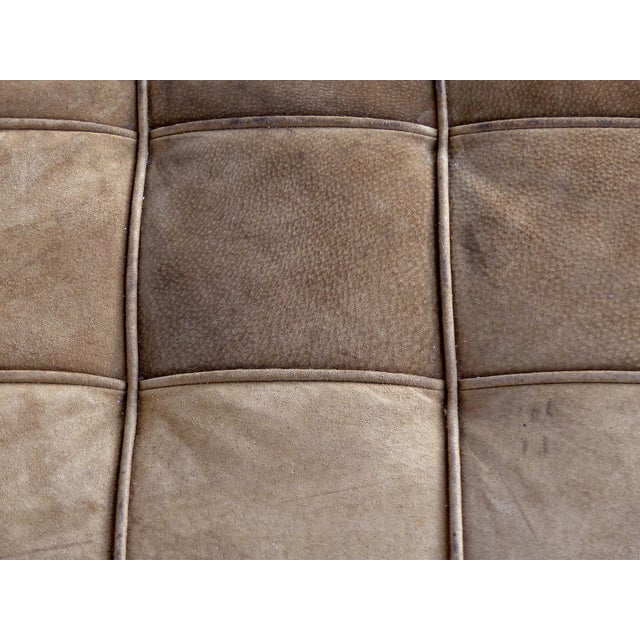 Animal Skin Large Tufted Square Suede Ottoman For Sale - Image 7 of 9