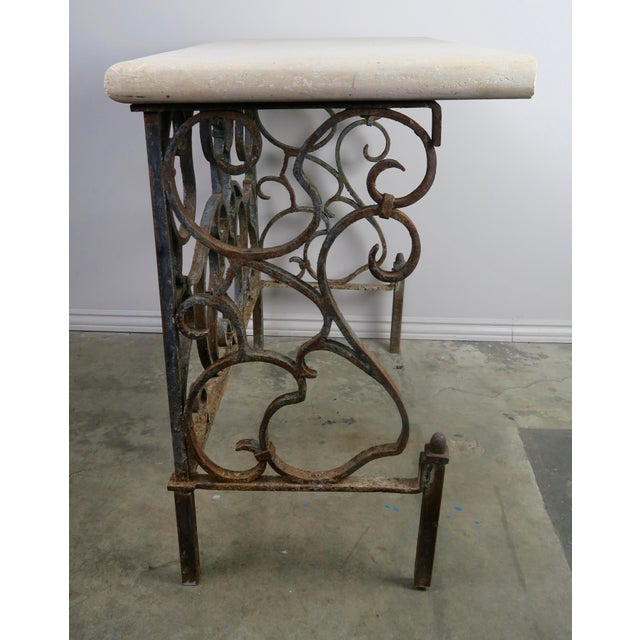 French 19th C. French Wrought Iron Console For Sale - Image 3 of 12