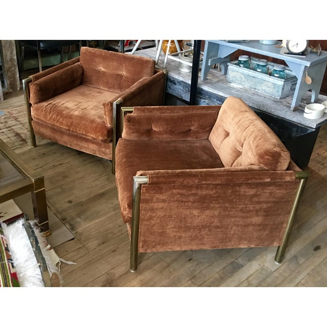 Milo Baughman-Style Brown Club Chairs - A Pair - Image 6 of 10