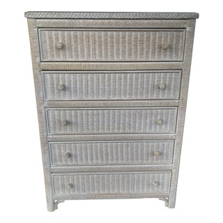 Lexington Henry Link 5 Drawer Wicker Chest For Sale