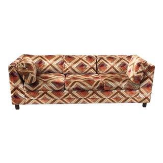 Milo Baughman 1970s Geometric Earth Tone Upholstery Sofa