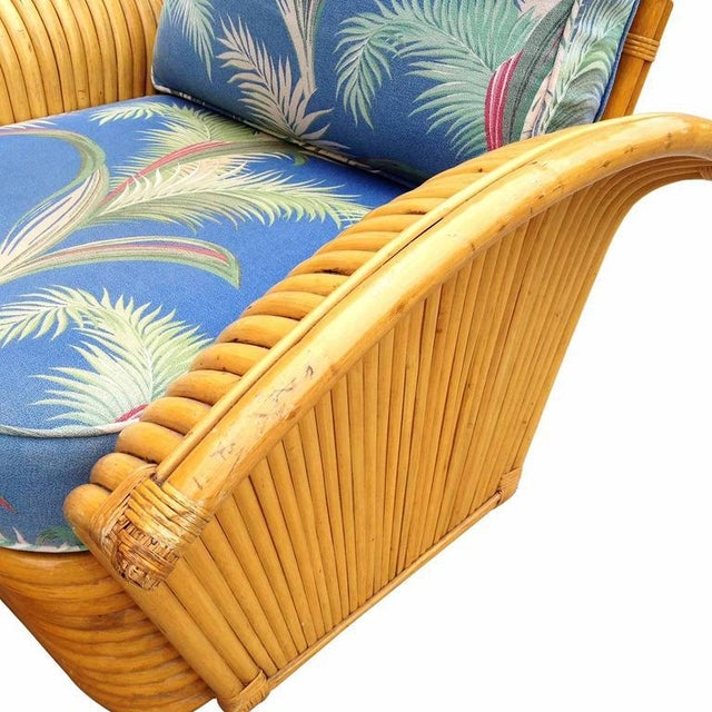 Restored Art Deco Rattan Fan Arm Lounge Chair with Ottoman - Image 6 of 7