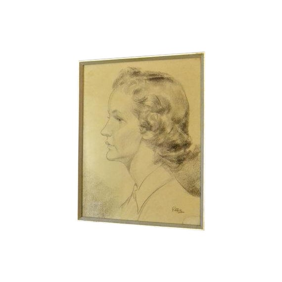 1956 Vintage English Hand Sketch of a Woman - Image 1 of 6
