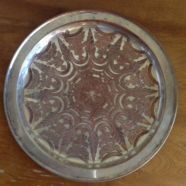 Vintage Moroccan Engraved Patterned Tray - Image 2 of 9