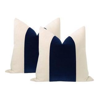 "22"" Sapphire Mohair Panel + Linen Pillows - a Pair For Sale"