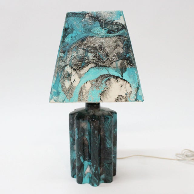 Transitional Turquoise Hand Painted Marble Lamp - Image 3 of 5