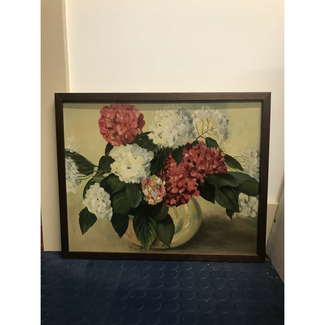 Paper 1952 Oil Painting by H G White, Still Life Hydrangeas For Sale - Image 7 of 8