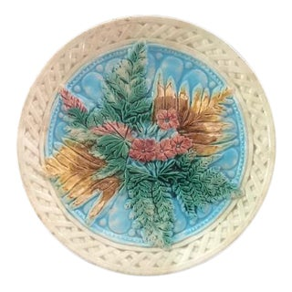 1880s Majolica Footed Compote Cake Stand For Sale