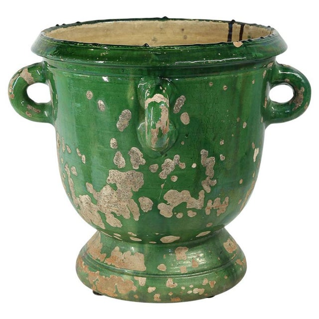 Green Glazed Terracotta Planter from Anduze, France For Sale - Image 8 of 8