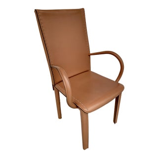 Italian Leather Wrapped Armchair For Sale