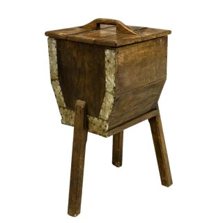 19Th Century Primitive Rustic French Oak Butter Churn For Sale