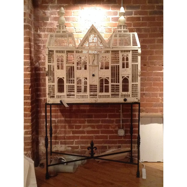 Antique White Deutch Birdhouse on Iron Stand For Sale - Image 9 of 9