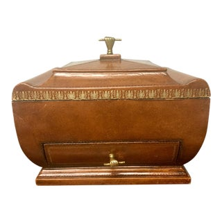 Maitland Smith Brown Leather Box With Gold Toolong