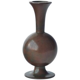 Scandinavian Patinated Bronze Vase For Sale