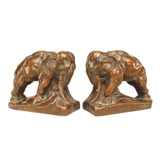 Pair of 20th Century Continental Bronze Elephant Bookends For Sale