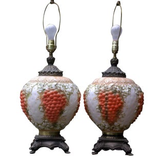 Vintage Grape Cluster Table Lamps - Pair