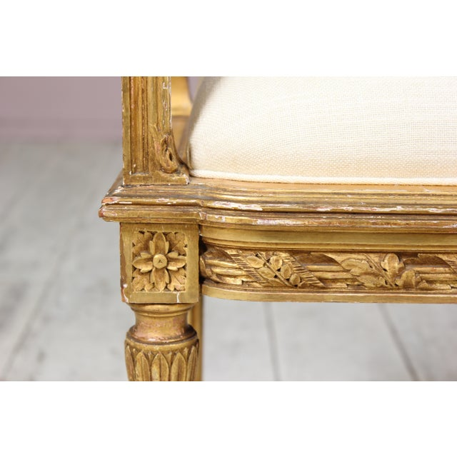 1920s Vintage French Louis XVI-Style Gilt Wood Bench For Sale - Image 4 of 6