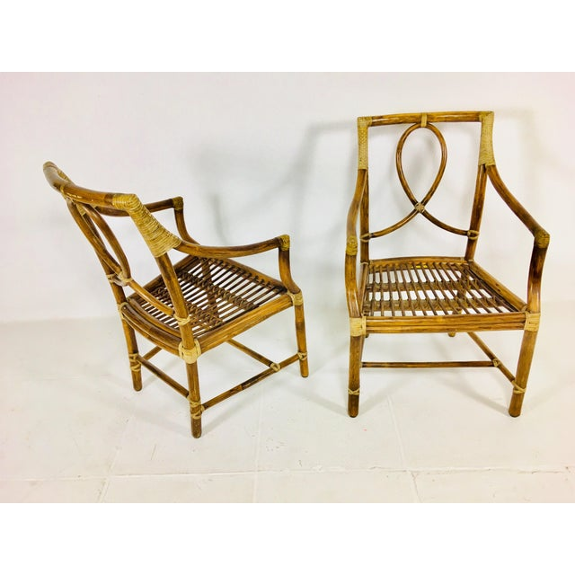 McGuire 1980s Mid-Century Modern McGuire Rattan Dining Arm Chairs - Set of 6 For Sale - Image 4 of 13