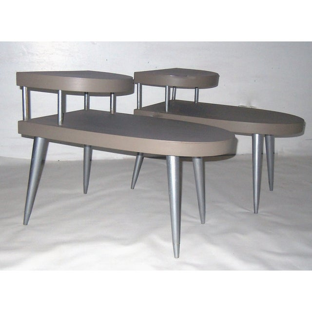 Mid-Century Two-Tiered Side Tables - A Pair - Image 2 of 8