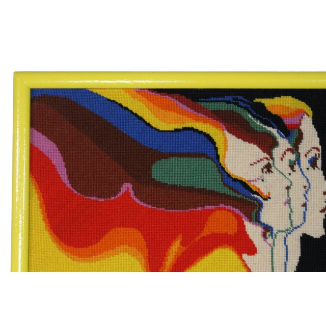 This vibrant, one of a kind psychedelic pop needlepoint of the famed surrealist Los Angeles artist John Luke Eastman,...