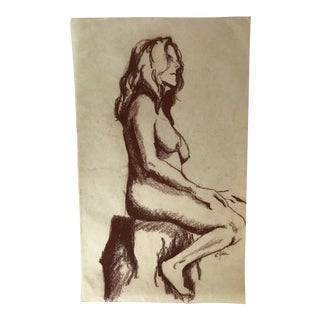 Seated Female Nude #4 Figure Drawing For Sale