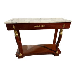 1940s French Mahogany Ormolu Console Table With Marble Top For Sale