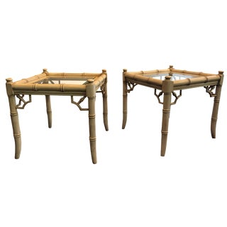 1960's Vintage Bamboo Side Tables - A Pair For Sale