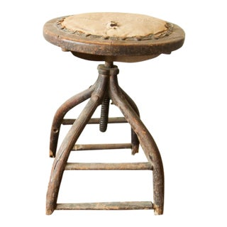 Victorian Antique Industrial Wooden Stool For Sale