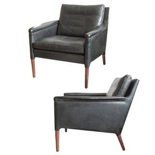 Pair of Kai Lyngfeldt Larsen Leather Chairs For Sale
