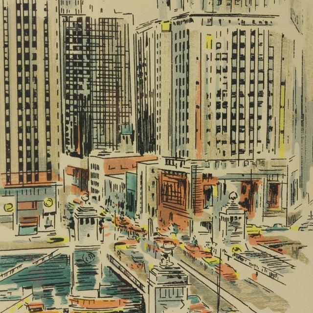 "Illustration 1960s Vintage John Haymson Mid Century Modern Framed Print ""Boulevard Bridge, Chicago"" For Sale - Image 3 of 8"