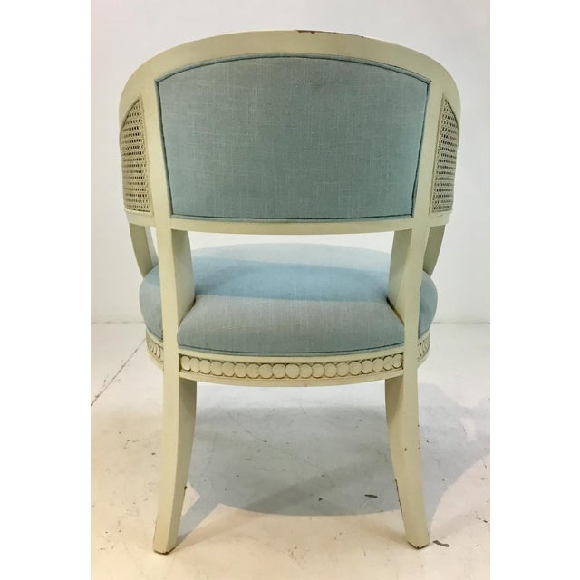 Caning Hickory Chair Transitional Le Clerc Ivory Cane Chairs Pair For Sale - Image 7 of 8