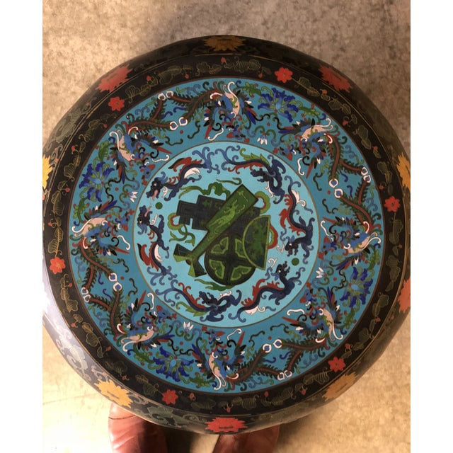 1920's Chinese Round Black Lacquered Side Tables With Blue Cloisonné Tops For Sale In New York - Image 6 of 10