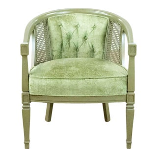 Vintage Green Cane Armchair For Sale