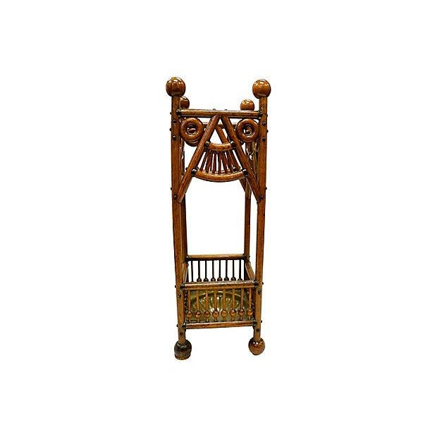 Country Antique Oak Umbrella Stand For Sale - Image 3 of 6