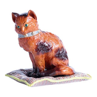 Oggetti Mangani Painted Porcelain Cat on Pillow For Sale