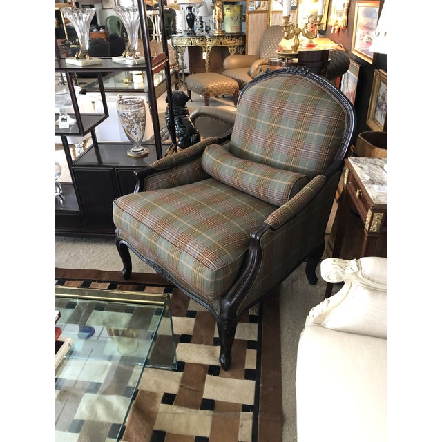 Ralph Lauren Carved Mahogany and Plaid Upholstered Club Chair For Sale - Image 9 of 9
