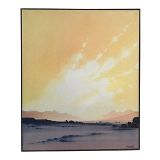 1978 Vintage Mid Century Modern Abstract Impressionist Surrealism Oil Painting, Signed Castellani For Sale