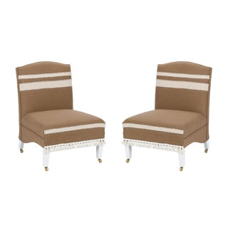 Casa Cosima Sintra Chair in Hazel Linen, a Pair For Sale