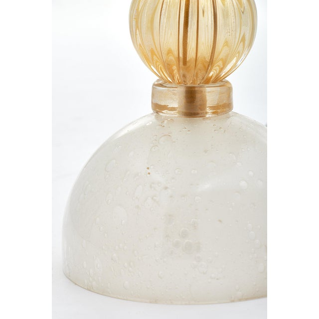 Murano Glass Opaline Urn Lamps For Sale In Austin - Image 6 of 11