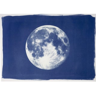 """Colossal """"Full Moon"""" , Handprinted Cyanotype on Watercolor Paper. Limited Edition For Sale"""