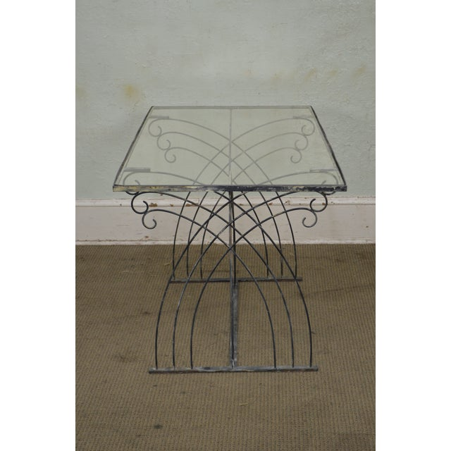 Black Art Deco Vintage Studio Wrought Iron Glass Top Patio Console Table For Sale - Image 8 of 13