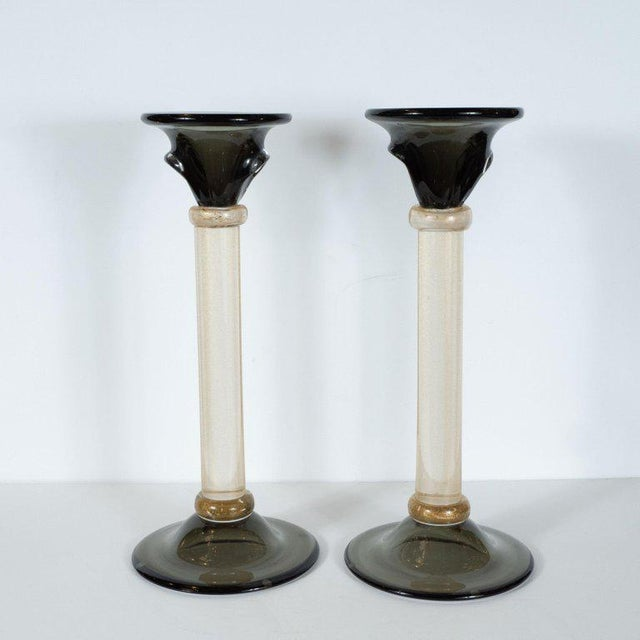 Modernist Handblown Murano Smoked Glass Candlesticks With 24-Karat Gold - a Pair For Sale - Image 4 of 12