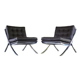 Vintage Leather and Chrome Lounge Chairs in Brown Leather- S/2 For Sale
