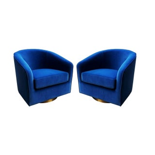 Blue and Brass Milo Baughman Swivel Chairs — a Pair For Sale