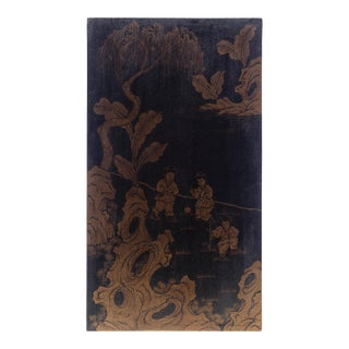 Asian Garden Scene Gold Paint on Wood Panel Painting For Sale