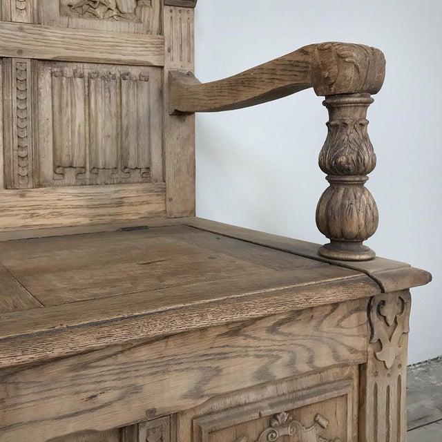 19th Century Italian Stripped Oak Hall Bench For Sale - Image 11 of 13