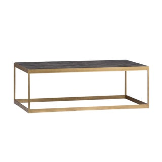 Brass & Parque Wood Coffee Table For Sale